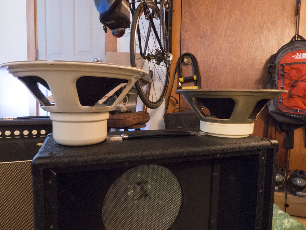 "Image shows Celestion ""Cream"" and ""Creamback"" speakers side by side."